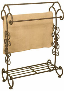 Passport-Accent-Metal-Quilt-Rack-With-Bottom-Shelf-In-Oil-Rubbed-Bronze-GallyHo