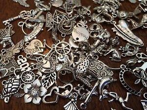 40 PC LoT ~ MiXeD ThEMe SiLvER ChArMs PeNdAnTs PRoMo FRee USA SHiPPiNg