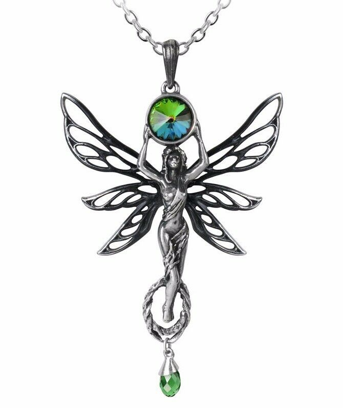 The Green Goddess Absinthe Pendant La Fee green Fairy Crystal P763 Alchemy Gothic