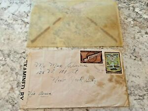 Vintage-Postage-Envelope-1942-Dominican-to-New-York-City-Rare-Marks-Stamps