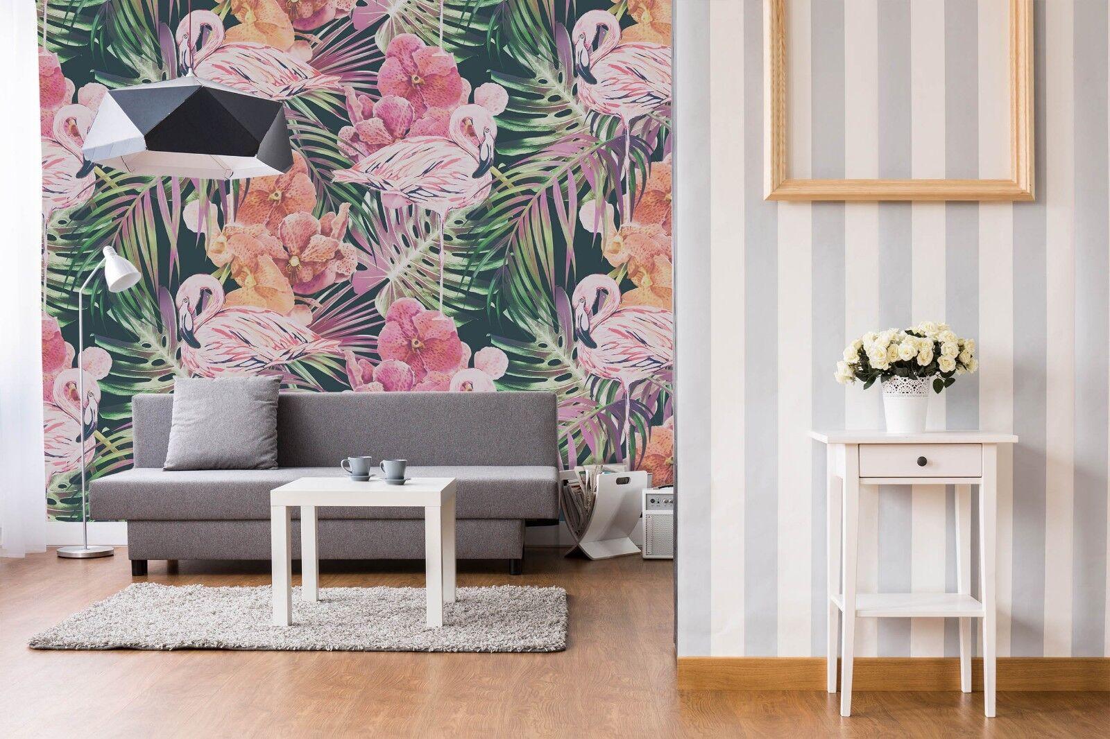 3D Flamingo Flowers 4566 Wallpaper Murals Wall Print Wallpaper Mural AJ WALL UK