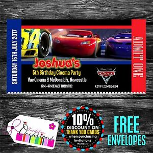 Image Is Loading Personalised Birthday Invitations Cars 3 Movie Ticket Cinema