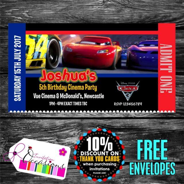 Personalised Birthday Invitations Cars 3 Movie Ticket Cinema Party X 5