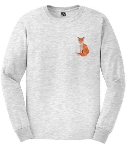 Fox Geometric Chest Print Tshirt Long Sleeve Animal Art Graphic Nature Design