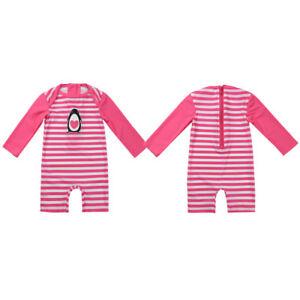 e342f5a67526d Baby Kid Girl Swimwear Striped Long Sleeve Rash Guard Costume Surf ...