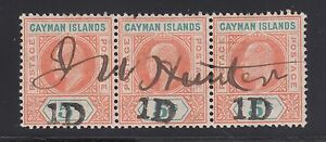 Cayman Islands Sc 19 used 1907 1p on 5sh KEVII strip of 3, Fiscally used, Cert.