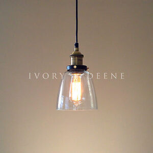 Image is loading LUCY-Glass-Pendant-Industrial-Filament-Light-Brass-Fittings -