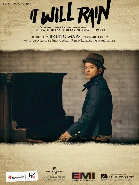 It Will Rain Song by Bruno Mars Piano Vocal Sheet Music Guitar ...