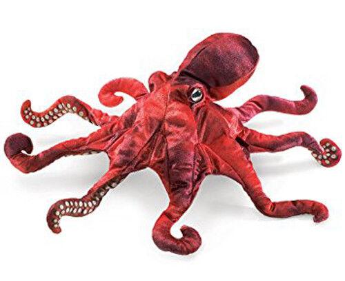 New FOLKMANIS Hand PUPPET Soft Plush Toy RED OCTOPUS Stuffed Animal Marine Ocean