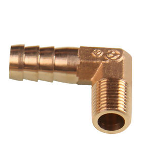 1/8'' BSP to 10mm Brass 90 Degree Male Elbow Barb Hose Tail Pipe Gas Fitting