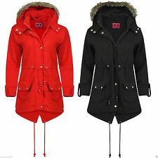 LADIES WOMENS GIRLS JACKET HOODED FLEECE FAUX FUR TRENCH PARKA COAT PLUS SIZE