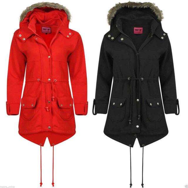 c46d5d0f7 Ladies Army Parka Coat Winter Warm Lined Fur Jacket Womens Style Hood  Parker Grey 20 for sale | eBay