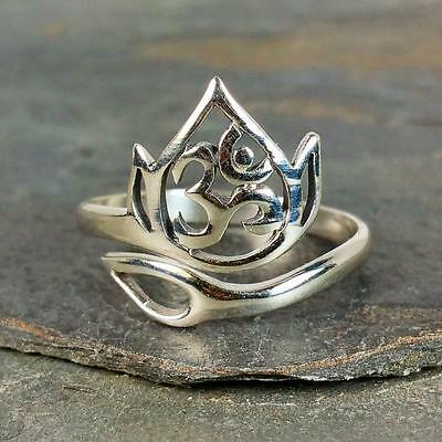 Adjustable Lotus Flower Ohm Ring - 925 Sterling Silver - Om Namaste Jewelry NEW