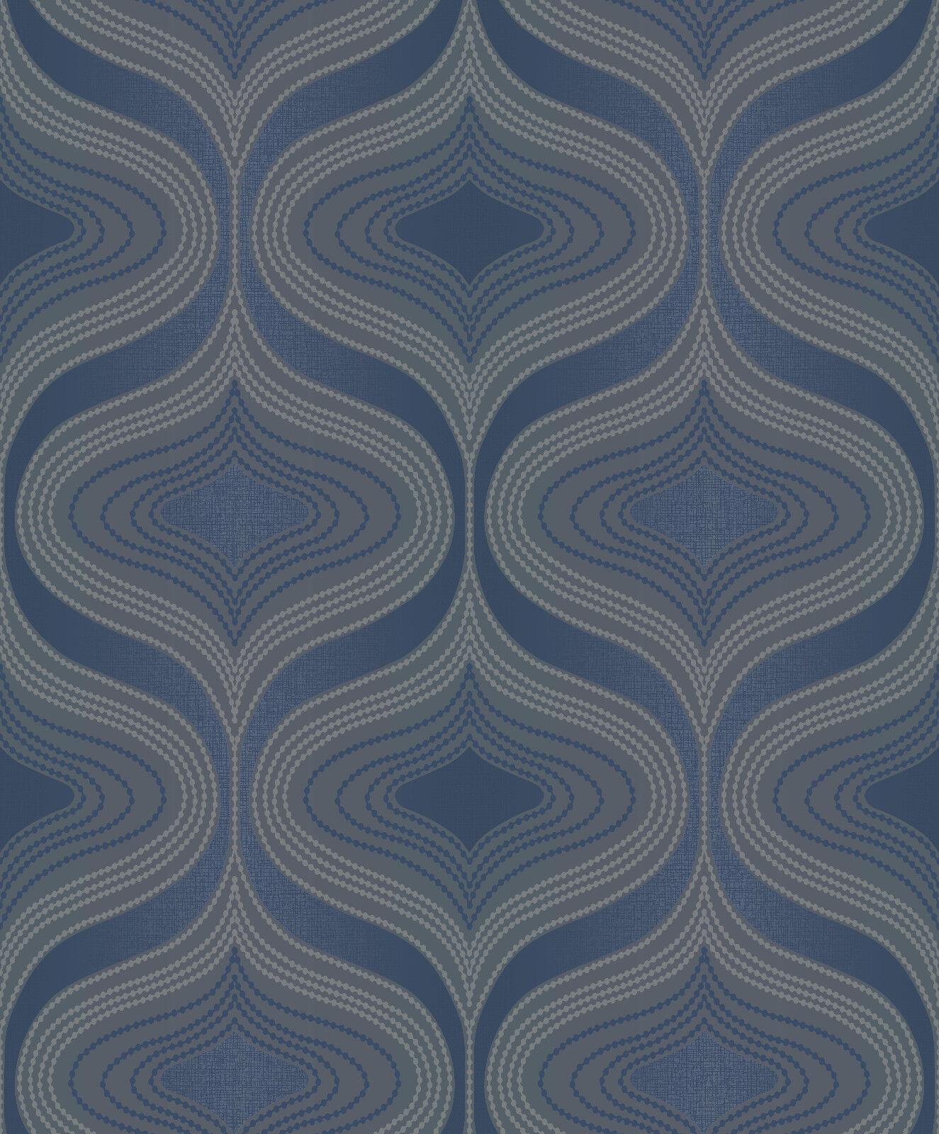 Grandeco Vie Marine Nuevo Bleu Marine Vie Paillete Papier Peint