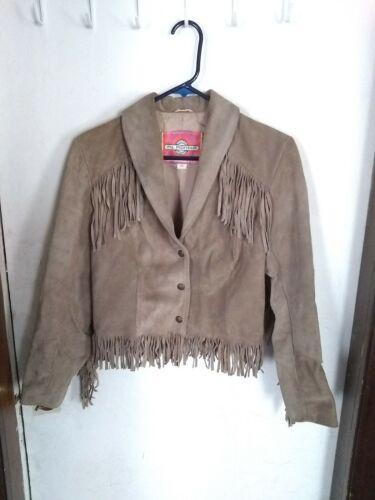 Ms Pioneer fringe jacket crop size 10 vintage sued