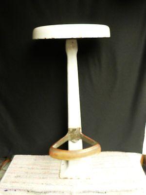 Vintage SANI Cast Iron Porcelain Drug Store Soda Fountain Stool brass foot #2