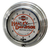 Harley-davidson Motorcycles Double Neon Garage Clock Garage Wall Decor 14 X 14