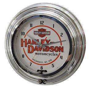 Harley Davidson Motorcycles Double Neon Garage Clock