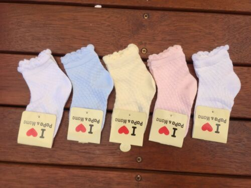 SET of 5 Solid Colour Kids Girls Summer Cotton Dress Socks 1-3 years old