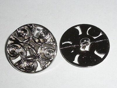 6 Stück Metallknöpfe Knopf Ösenknopf Knöpfe  20 mm silber NEU rostfrei #929.2#
