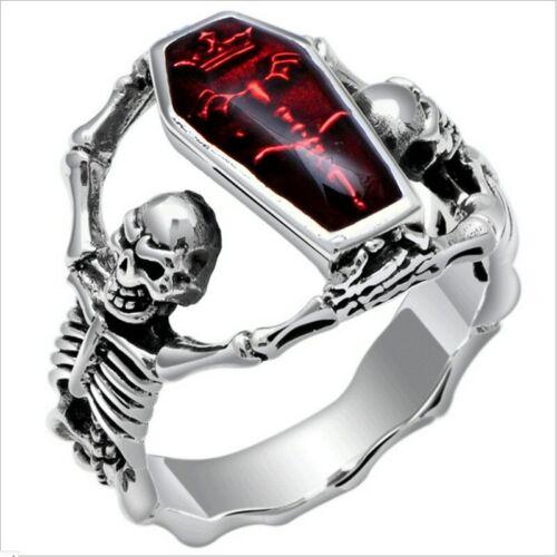 Anillo de acero inoxidable Biker rocker señores skelet calavera hombres rojo piedra Gothic nuevo