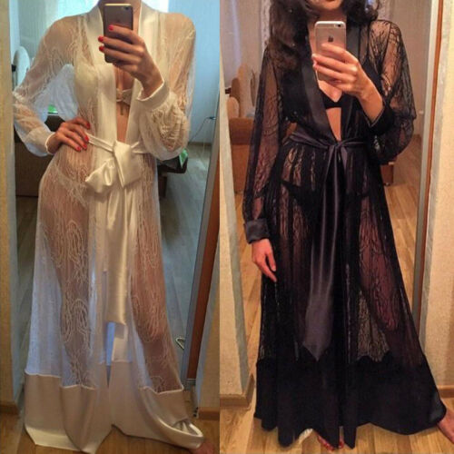 Women Lace Robe Sleepwear Nightwear Lace Up Kimono Gown Bathrobe Nightdresses