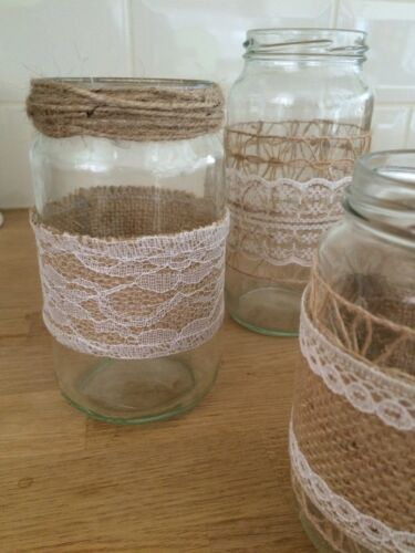 Burlap/&Lace Inspired 10 Decorated Cottage Rustic Wedding Centrepiece Glass Jars