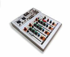 Professional Four-Channel USB PA DJ Mixer with 3-band EQ & LED 48V phantom