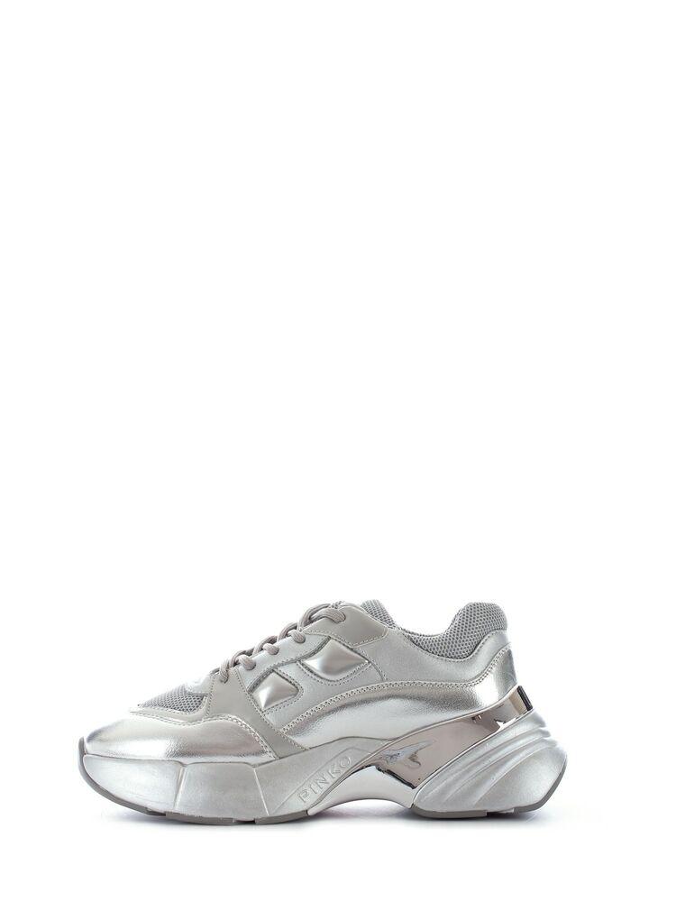 à Condition De Pinko Rubino Scarpa Sneaker In Pelle Silver Da Donna, 1n20bh-y5zu
