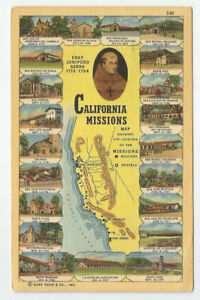 Map Of California Missions Locations.Details About California Missions Map Showing The Locations Postcard 1948 Vintage Chapels Ca