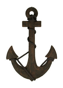 Zeckos Oxidized Finish Ship Anchor and Rope Nautical Wall Hanging