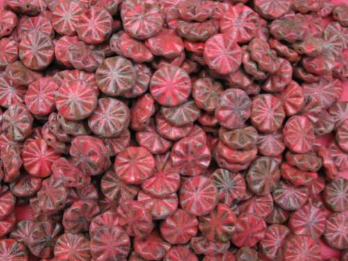 3 böhmische Glasperlen rot matt marmoriert 18mm 11357