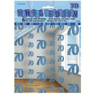 Image Is Loading Blue Glitz 70th Birthday Hanging Decorations Pack 6