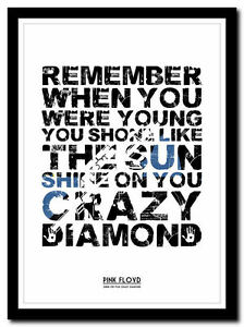 PINK FLOYD ❤ Shine On You Crazy Diamond poster ❤ typography art ... fcf54a339