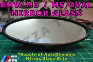 BMW-E46-M3-amp-E39-M5-Oval-Rear-View-Mirror-Auto-Dimming-Replacement-Glass-Cell