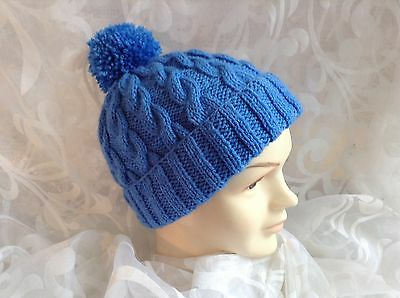 HAND KNITTED CHLDS BOB HAT CABLED RUST AGE 0-3mths3-6mths6-12mths 1-2 /&3-4 yrs