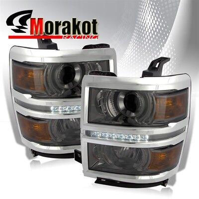 14-16 Chevy Silverado 1500 Black Projector Headlights with LED