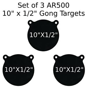 Conjunto de 3 Gong de destino de acero AR500 1 2  X 10  pintado de negro práctica de tiro sonó