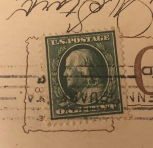 Ben-Franklin-1908-One-Cent-Green-Stamp-on-Antique-1912-Postcard-Rare-Old-Maid