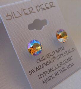 Image Is Loading Hypoallergenic Stud Earrings Swarovski Elements Crystal Lt Topaz