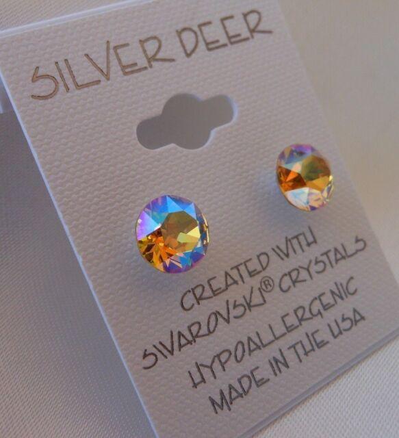 Hypoallergenic Stud Earrings Swarovski Elements Crystal Lt Topaz Aurora Borealis