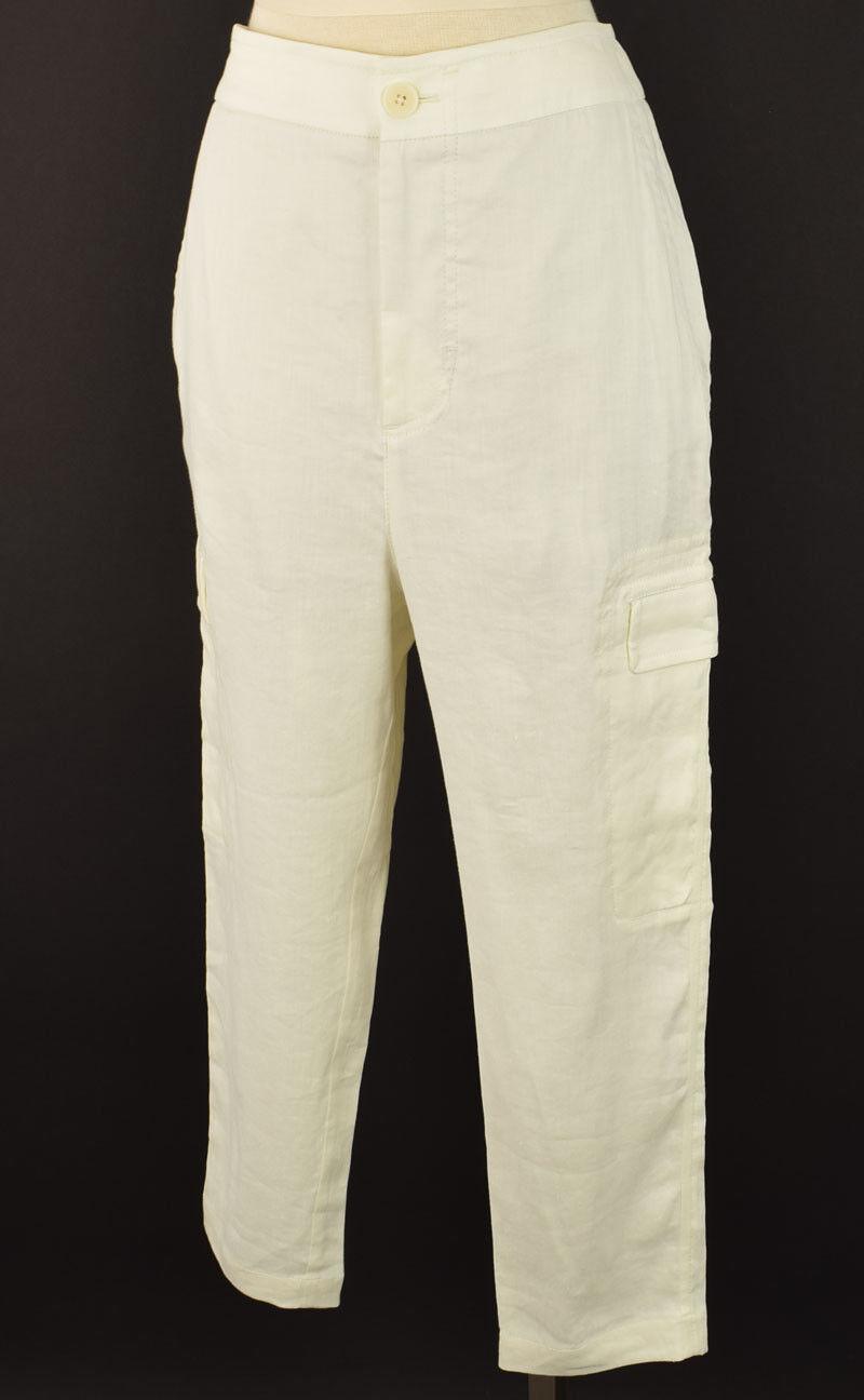 VINCE Current Vanilla Cropped Leg Stretch Linen Cargo Pants MEDIUM NWT