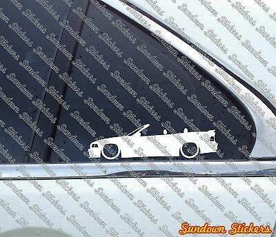 2X Lowered car outline stickers - for Bmw E36 3-series m3 Convertible WITH WING