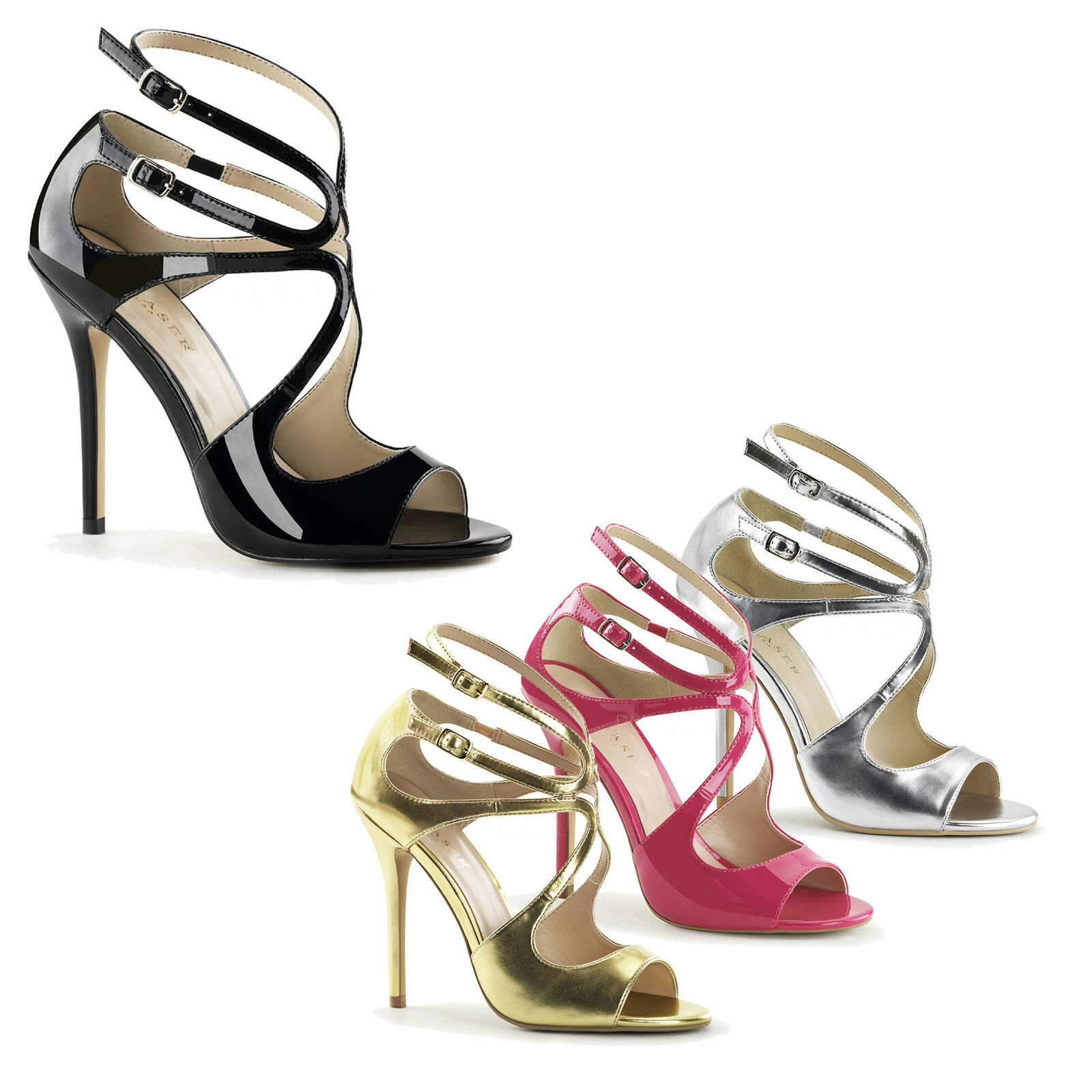 PLEASER - Amuse-15 Stunning Sandals With With With Waving Design, Peep Toe, Strappy    Exquisite Verarbeitung  d32185