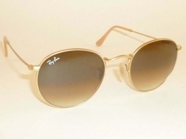 Ray Ban Round Metal Gold Frame Light Brown Gradient Lenses Standard Size Sunglasses