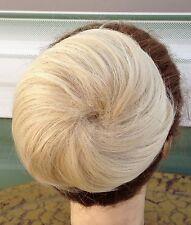 Medium blonde fake pony tail bun elastic pull draw string hair piece extension