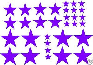 32 STAR STICKERS car bike decal SOLID