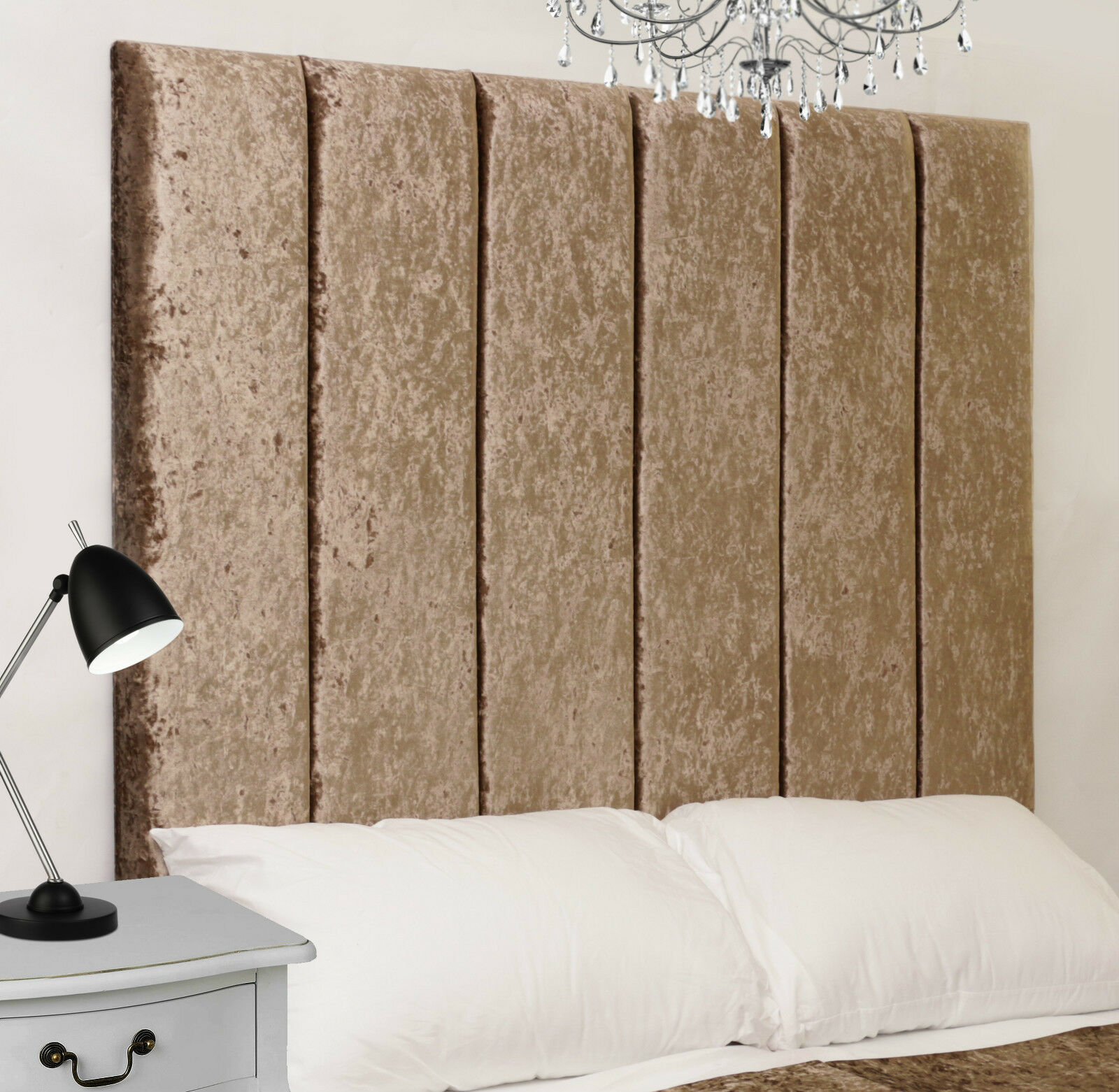 Hutt High Bed Headboard Crush Velvet All Sizes & Colours   eBay