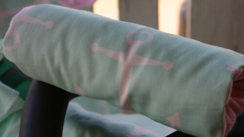 infant car seat carrying handle cushion mint anchors with baby pink minky