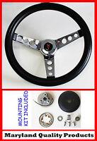 1964-1966 Pontiac Gto Black And Chrome Steering Wheel 14 1/2 Mounting Horn Kit